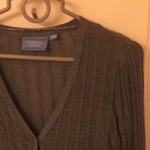Grayed Teal Dressy Cardigan Sweater